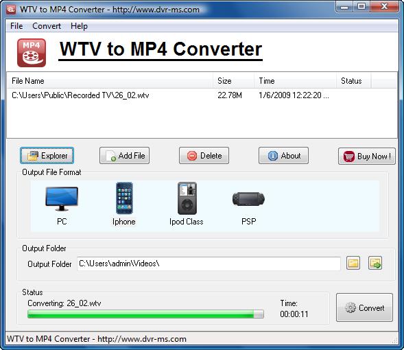 Windows 7 WTV to MP4 Converter 3.9.1.181 full